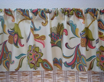 Covington Savannah  Curtain Kitchen Curtain Valance Mariner Blue/Cream/Surf 52x12 52x14 52X16 or 52X18