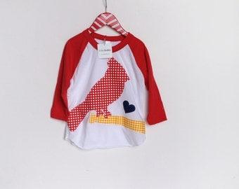 Cardinal Shirt, Raglan 3/4 sleeve, Children, Boy, Girl. Raglan Baseball Shirt