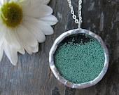 Emerald Green Shake Necklace Snow Globe Modern Micro Bead Gift - whatanovelidea