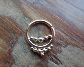 Nexus : Gold Nose Ring .. Septum Jewelry .. 14k gold nose hoop .. Aprilsblissed .. Nosebling .. Indian Nose Jewelry