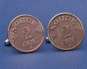 """Norwegian Vintage 1950s Bronze Coin Cufflinks - """"Norge 2 Ore""""  Norway"""