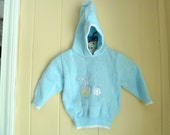 Use CODE50 for 50% OFF Vintage Blue Hooded Sweater with Bunny, Made in Italy, 1980s, size 3-6 months, Baby Easter Sweater
