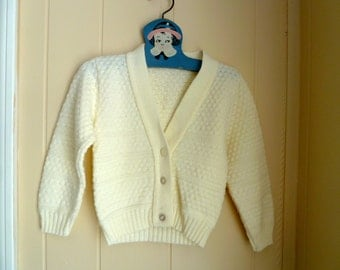 Vintage Cream Ivory Cardigan Sweater, 1980s, size 3T