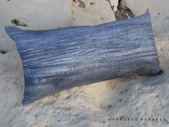 Coastal home decor Linen throw pillow . Sea inspired. Blue ..  Brightness of blue  / FRAGMENTS