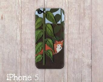 Fox iPhone Case, iphone cover, iPhone 4 case, iPhone 4s case, iPhone 5 case, hard case, Paper Quilling, paper art print