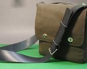 Waxed Cotton Messenger Bag with leather shoulder strap - satchel for Tablet, eReader etc.