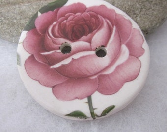Large Pink Rose Flower Button