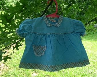 Wee Winnie (12M) Blue with Plaid Details Baby Girl Dress/Top