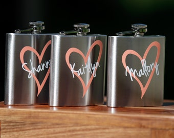 Bridesmaid flask, 6 oz, stainless steel personalized flask. Bridesmaid and Maid of honor gift. Wedding flask. Wedding party favors