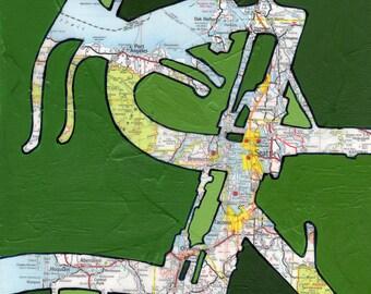 Bike Seattle no.2 13x13 print - featuring Seattle, Bremerton, Tacoma, Olympia, Aberdeen, Port Angeles, Aberdeen, Mt Ranier, Washington