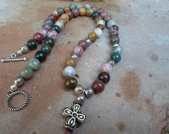 Handmade Fancy Jasper and Silver Bead Necklace
