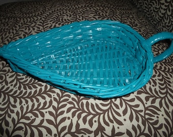 Leaf Shape Wicker Basket in Dark Aqua Color