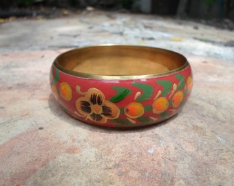 Hand Painted Brass Bangle Bracelet