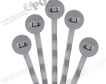 25 PACK - Bobby Pins, Gray Bobby Pin Blanks, Painted Bobby Pins, Color Bobby Pins, Bobbie Pins, 50mm wide,  8mm Glue Pad (R7-161)