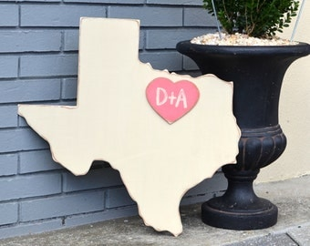 Custom Wooden State Wedding Guestbook - 2 ft Texas in Distressed Ivory - any state/country available in many colors