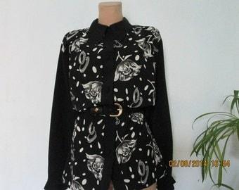 Big Blouse Vintage / Black / White / Large / Size EUR48 / 50 x UK20 / 22