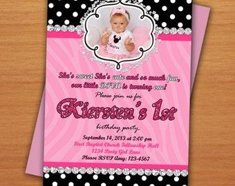 Little Diva Zebra 1st Personalized Birthday Invitation Printable Digital DIY