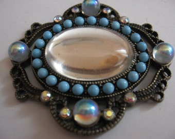 Vintage Baroque Crystal Pendant Swarovski 25x18mm Mirror Oval Cabochon 48x44mm Antique Brass Pendant QTY - 1 ONLY ONE
