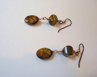 Tiger Eye Wire Wrapped Dangle Earrings