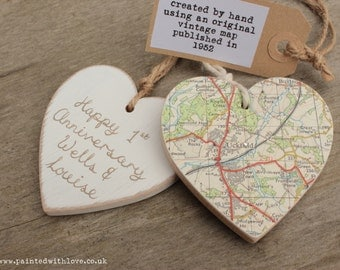 Vintage Wedding Gift For Husband : Anniversary / wedding personalised vintage map wooden heart1st or ...