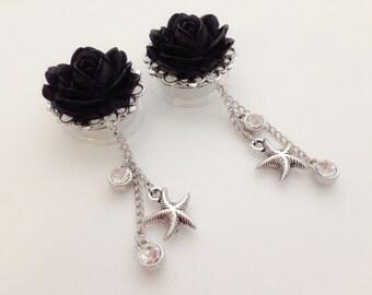 "7/8 Inch Rose Plugs with Starfish Dangles Body Jewelry Choose Color Dangle Plugs 3/4"", 5/8"", 13/16"", 11/16"" Purple Blue Black Plugs"