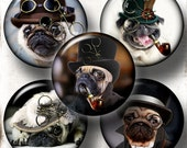 Steampunk Pug Dog -  Digital Collage Sheet CG-785C - 1.5in, 1.25in, 30mm, 1in, 25mm round images Printable Images Jewelry Making Bottle Caps