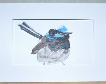 Hand painted greeting card or gift card with a Blue Wren, Bird painting, Blue feathers, Little bird, Animal painting, Nature art, Art card