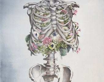 Floral Anatomy: Skeleton Print of Oil Painting - Anatomical Art Print - Human Body - Medical Art