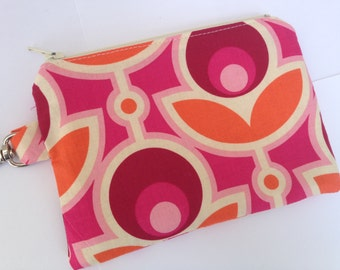 Pink Roses Small Zippered Pouch