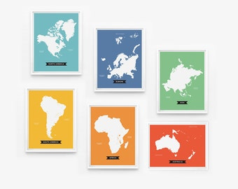 World Continents Map Art Prints set of 6 Playroom Decor, Baby Gift, Nursery Decor, Kids wall art, Children Room Decor