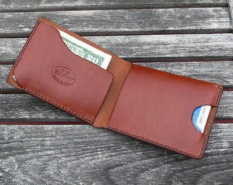 Mens Wallet, minimalist leather wallet, men's wallet, simple wallet,  handmade wallet, leather wallet, black chestnut brown leather, garny 2