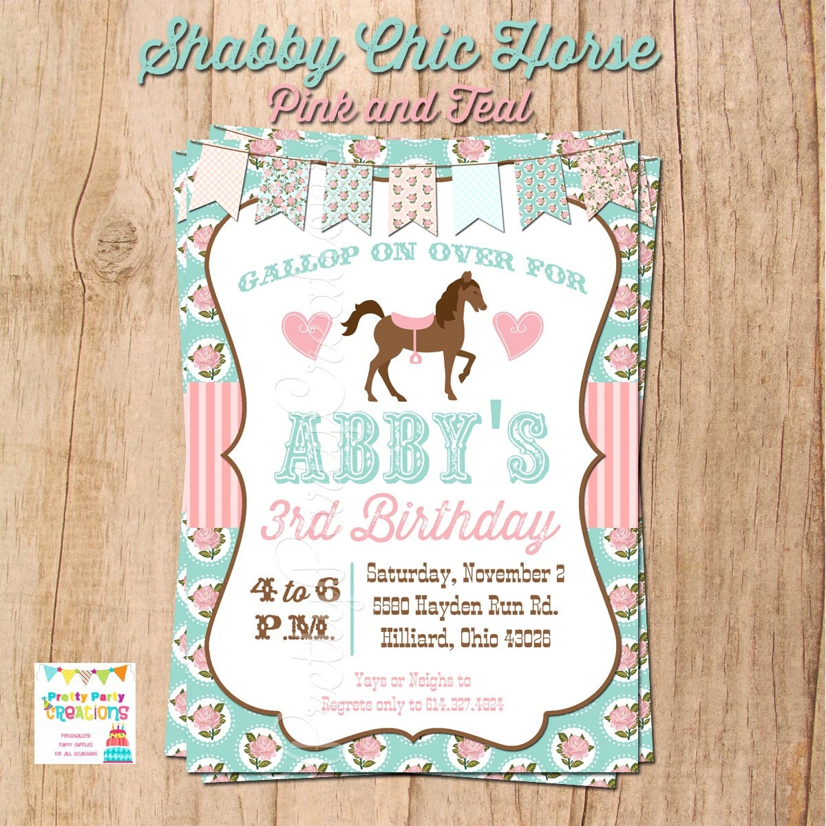 SHABBY CHIC HORSE invitation You Print Original in Pink