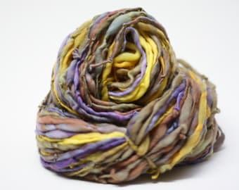 Thick and Thin Merino Yarn Handspun Slub ttS(tm) Hand dyed Self Striping LR 40a