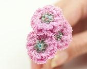 Hair Pins- Bridal Crochet Pink Flower Hair Pins, Wedding Accessory, Bohemian Wedding, Crystal Hair Piece for Bridesmaid, Fabric Flowers