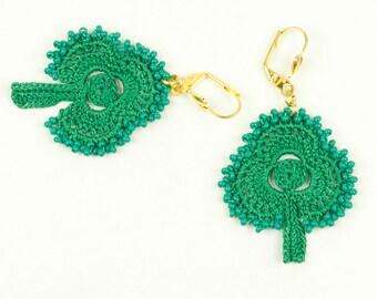 Earrings-Crochet Earrings,Shamrock Earrings,St Patrick's Day Jewelry,Green Clover,Crochet Beadwork Earrings,Fiber Art Jewelry