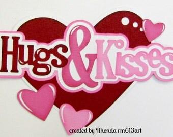 Hugs Valentine title premade scrapbook page paper piecing Rhonda rm613art