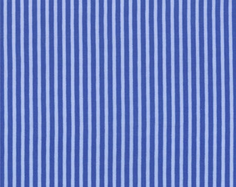 Half Yard Hello Petal Stripe in Lovely Cobalt Blue, Aneela Hoey, Moda Fabrics, 100% Cotton Fabric, 18567 15
