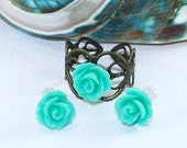 Mint Flower Ring and Stud Earring Set of 2 Resin Aqua Seafoam Green Rose Ring Adjustable Ring Mint Wedding Bridal Minimalist Flower Girl