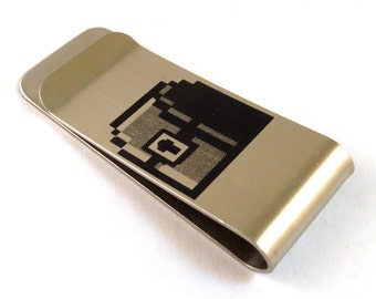 8-Bit Gamer Treasure Chest Stainless Steel Money Clip 8 Bit Old School Video Game Money Box Billfold