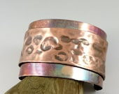 Fold Formed Copper Cuff Unisex Bracelet 6 by 1 5/8 inches Foldformed Cuff, Copper Jewelry, Torch Colored