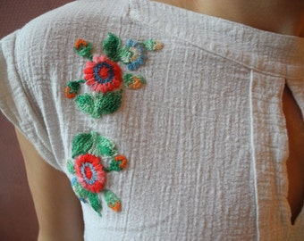 Vintage Boho Shirt With Flower Embroidery