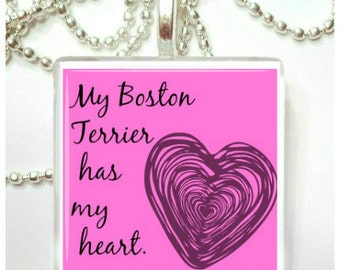 My Boston Terrier has my heart Glass Pendant