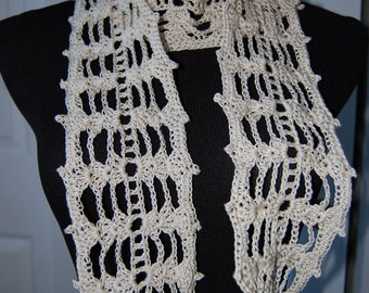Crochet Scarf in Ecru Cotton