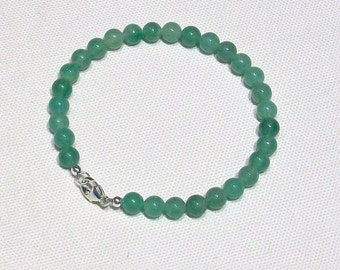 Green Adventurine Gemstone Bracelet with Sterling Silver Clasp