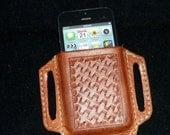 Étui de téléphone de crêpe en cuir fabriqués à la main