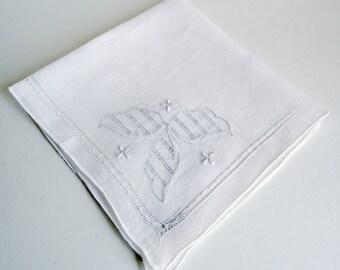 Handkerchief Hanky Hankie  Vintage White Open Work Men's Handkerchief