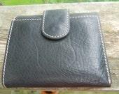 1980s soft black unisex Vintage  wallet. tri fold. mint perfect. supple  plush LEATHER/