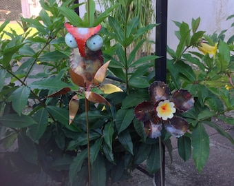 Flower or Owl Garden Stake with Butterfly