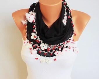 SALE SCARF -black Turkish oya scarf ,  turkish yemeni ,hand crocheted lace border scarf