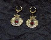 Pomegranate Earrings - Garnet Brass Earrings